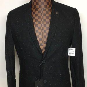 Howe-Black Seamed Marled Knit Blazer 40R NWT